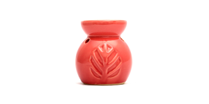 Ceramic Burner - Leaves Design (Pink)